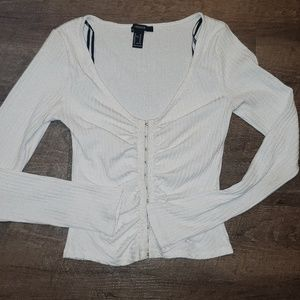 Forever 21 White Ribbed Top